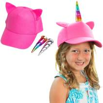 Ultra Comfort Girls Unicorn Hat with Both Rainbow and Silver Horns. Perfect Kids Baseball Cap. Adjustable Size for Toddlers to Preteens, 2-12. A Great Birthday Present UV Resistant