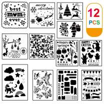 Aaskuu Christmas Stencils Templates 12 PCS Reusable Large DIY Plastic Craft Painting Drawing Halloween Template for Kids Bullet Journal Supplies Notebook Diary Scrapbook, Painting on Wood