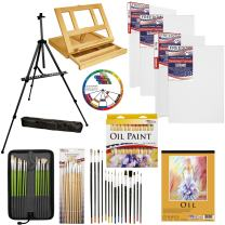 """U.S. Art Supply 70-Piece Oil Painting Set with Aluminum Floor Easel, Wood Table Easel, 24 Oil Paint Colors, Oil Painting Pad, 8""""x10"""" Stretched Canvases, 11""""x14"""" Stretched Canvases, Artist Brushes"""