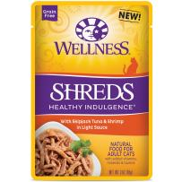 Wellness Healthy Indulgence Natural Grain Free Wet Cat Food Pouches Shreds Tuna & Shrimp