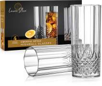 Laura Stein Plastic Crystal Style Highball Glasses (4 Pack) - Clear Disposable Highball Glasses | Elegant, Heavy Weight Glasses For Any Drink | Great For Weddings, Events & Everyday Use