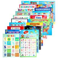 20PCS Learning Posters for Preschool Kindergarten Pre-K Homeshcool Classroom Virtual Educational Laminated, Learning ABC Alphabet Number, Color, Shape, Day, Farm Animals and More
