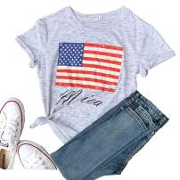 Women's Short Sleeve T-Shirt USA Graphic Tees Tops Christmas Blessed Tops Funny Blouse Tees