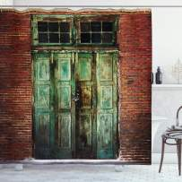 """Ambesonne Rustic Shower Curtain, Rusty Old Door of Red Brick Wall House Dirty Doorway Front Exist Retro Textured Art Photo, Cloth Fabric Bathroom Decor Set with Hooks, 75"""" Long, Green"""