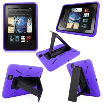 """Cellularvilla Tm Combo Case for Amazon Kindle Fire HD 8.9"""" 8.9 Inch 2012 Edition Color Hybrid Armor Kickstand Hard Soft Case Cover with Stand (Purple Black)"""
