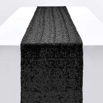 Pufogu 12 x 72 inches Black Sequin Table Runner, Glitter Table Runner for Birthday Party Supplies Decorations Wedding Bachelorette Holiday Celebration Bridal Shower Baby Shower (1 Pack)