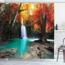"""Ambesonne Waterfall Shower Curtain, Deep Forest and Waterfall Runoff Autumn Fall Seasonal Forest Print, Cloth Fabric Bathroom Decor Set with Hooks, 70"""" Long, Turquoise Orange"""