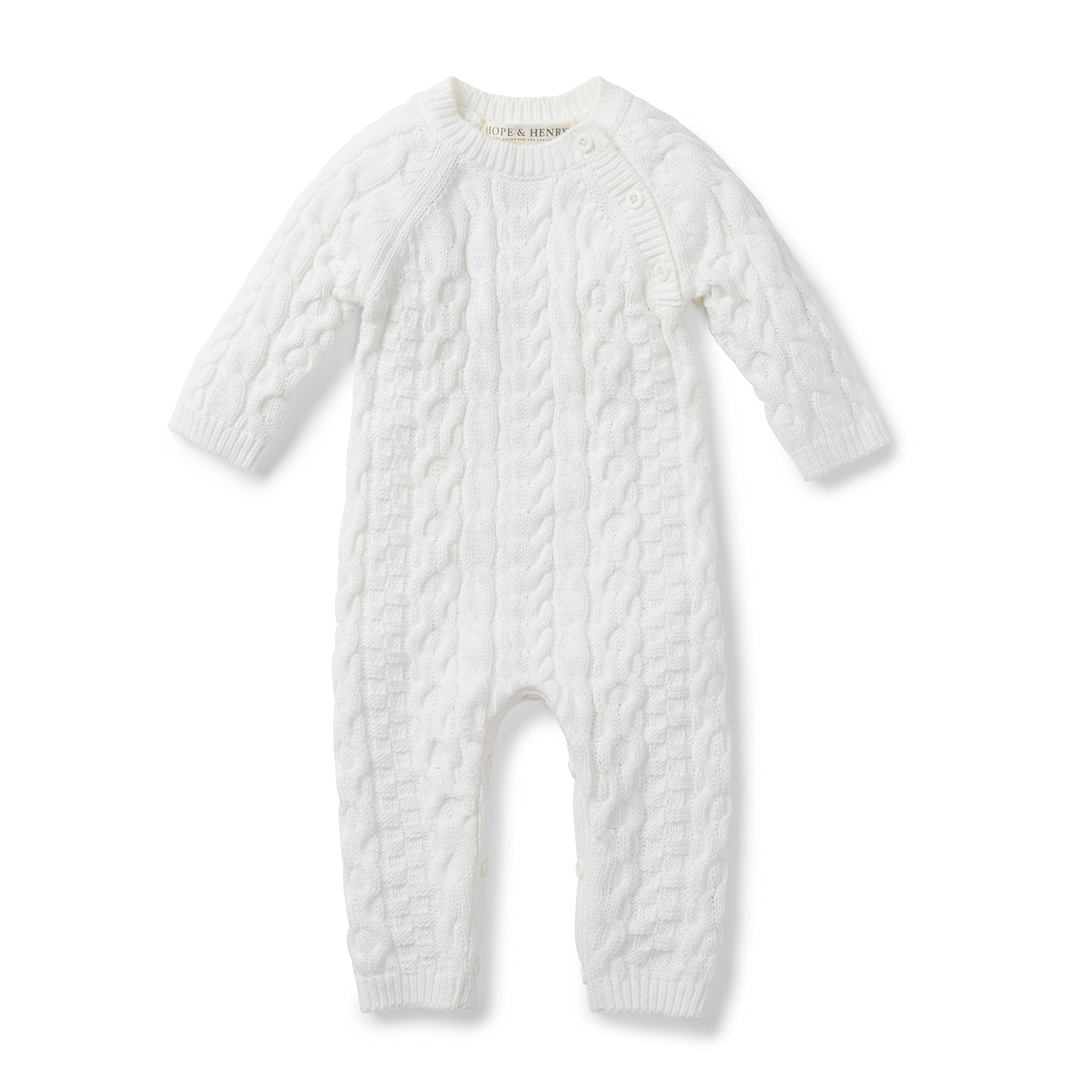 Hope & Henry Layette Baby Cable Knit Sweater Romper