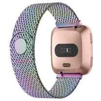 iGK Metal Replacement Bands Compatible for Fitbit Versa/Versa Lite Edition/Versa 2, Stainless Steel Loop Metal Mesh Bracelet Unique Magnet Lock Wristbands