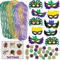 Mardi Gras Party Accessories - 50 Masks w/Decorations and feathers, 144 Beads Beaded Necklaces (Green, Purple, Gold), 144 Plastic Coins, 144 Temporary Tattoos, Great for Parades, Party Favors, Decorations, Costumes, Dress Up & Celebrations