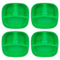 "Re-Play Recycled Products Small Divided Plates, Set of 4 (7.375"" Divided Deep Walled Plates, Kelly Green)"
