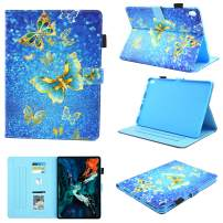 iPad Pro 11 Case 2018, MonsDirect Smart Folio Leather Wallet Case Multi-Angle Viewing Stand Cover iPad Pro 11 inch (2018 Release) Auto Wake/Sleep Case - Gold Butterflies