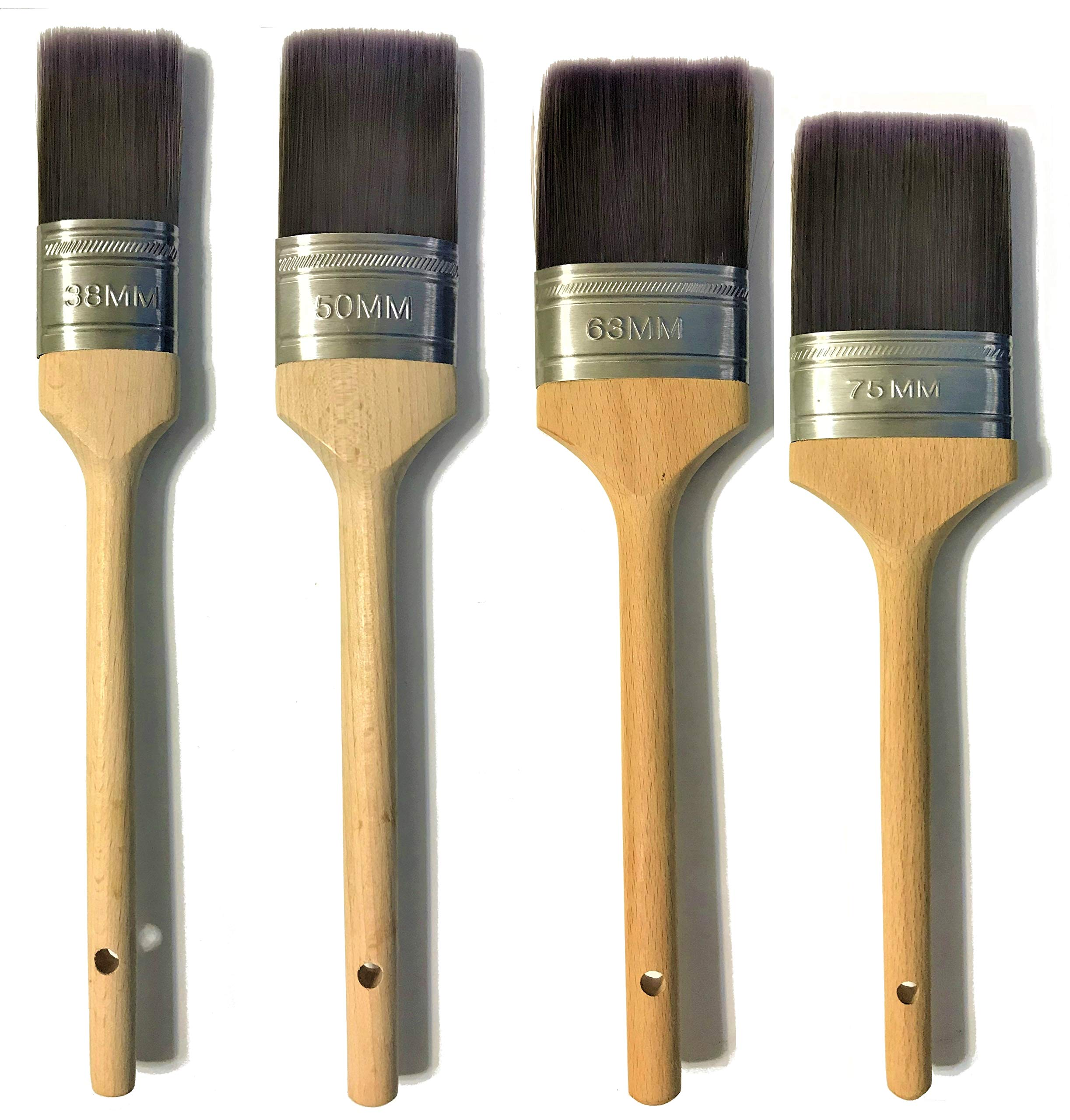 PANCLUB Oval Paint Brush Set 4 Pcs   1.5、2、2.5 and 3 inch   High Paint Pick Up and Excellent Spreading Rates   for Oil-Base and Water-Based Paints with Interior or Exterior Painting