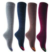 Lian LifeStyle Women's Big Girl's 4Pairs Knee High Cotton Socks Size 6-9 L158212