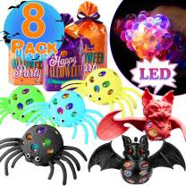 8Pack Easter Party Favors 8 Stress Grape Ball Easter Basket StuffersLED Stress Balls 6 color Spider Bat Squeeze Balls Relieve Anxiety Sensory ADHD Toys Easter Birthday Gift Supplies for Kds