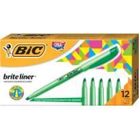 BIC Brite Liner Highlighter, Chisel Tip, Green, 12-Count