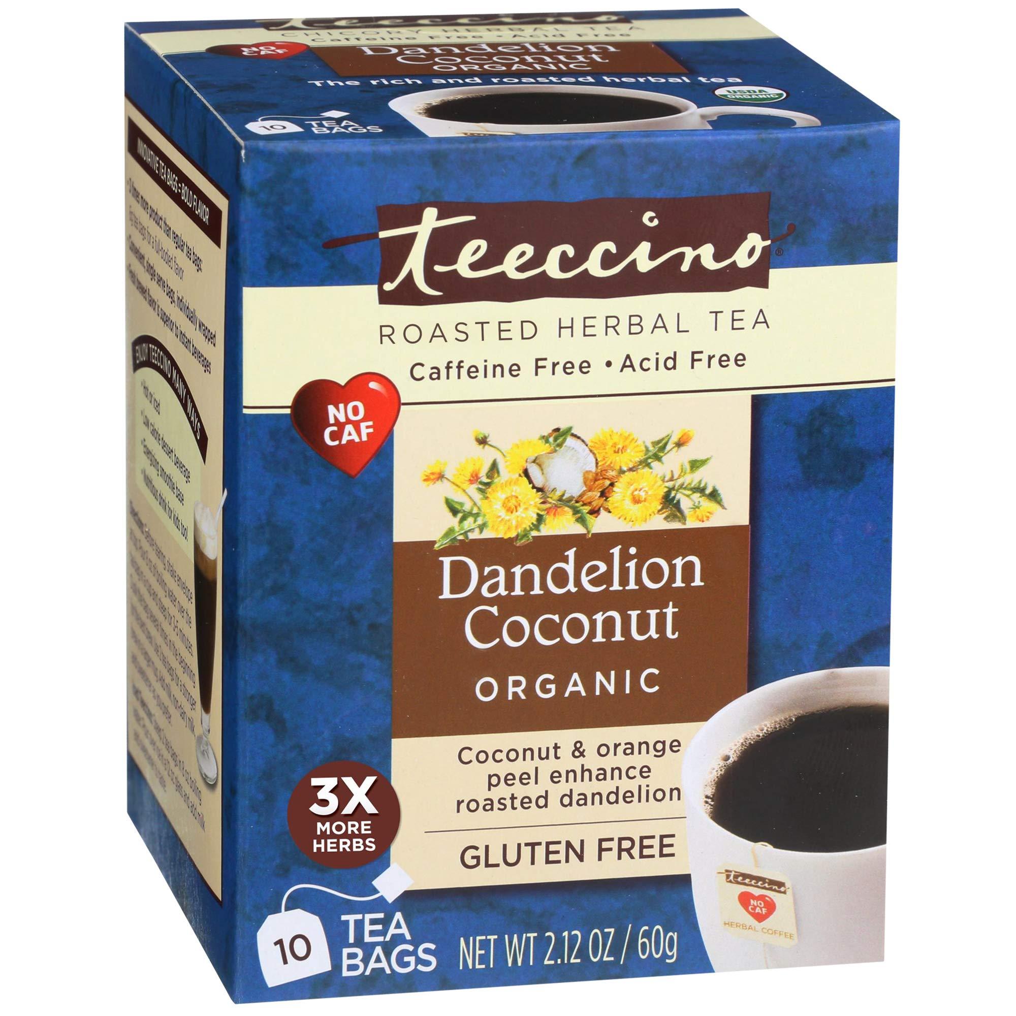 Teeccino Dandelion Tea – Organic Coconut – Roasted Herbal Tea, Organic Dandelion Root, Prebiotic, Caffeine Free, Gluten Free, Acid Free, 10 Tea Bags