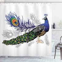 """Ambesonne Peacock Shower Curtain, Male Peacock Feathers Springtime Wilderness Crowned Majestic Animal Pattern, Cloth Fabric Bathroom Decor Set with Hooks, 75"""" Long, Green Blue"""