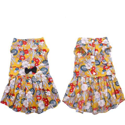 SAWMONG Dog Bowknot Floral Dress, Floral Dog Summer Dress, Cute Hawaiian Skirt for Small Pet Puppy Dogs and Cats (Medium, Yellow Floral)