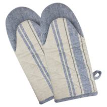 """DII Cotton French Stripe Oven Mitt, 13x6"""" Set of 2, Machine Washable and Heat Resistant Country Farmhouse Cooking and Baking Glove-Nautical Blue"""