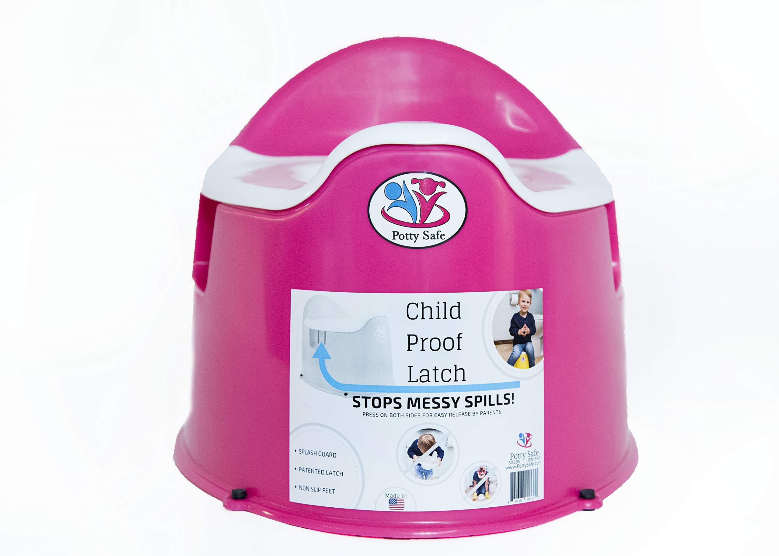 Potty Safe-Potty Training Toilet w/Child Proof Latch; Potty Chair; Training Potty;Potty Training; Toilet Training; Kids Potty Chair; Made in USA; Child Potty Chair; Potty seat; Non Slip feet (Pink)