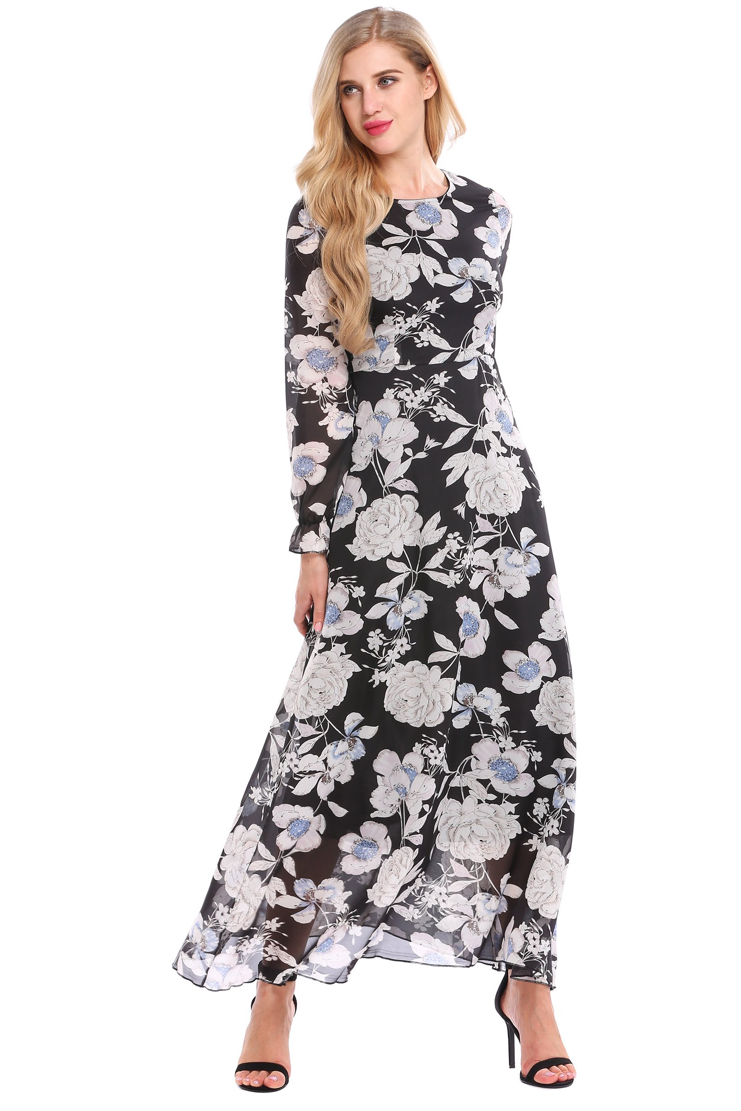 Zeagoo Women Chiffon O-Neck Long Sleeve Floral Print Long Maxi Party Beach Dress Black M
