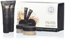 INIKA Trial Pack, All Natural Make-up Discovery Kit – 2 Mineral Foundation SPF25 (2 x 0.7 g), Certified Organic Liquid Foundation 4 ml, Certified Organic Pure Primer 4 ml (Medium/Dark)