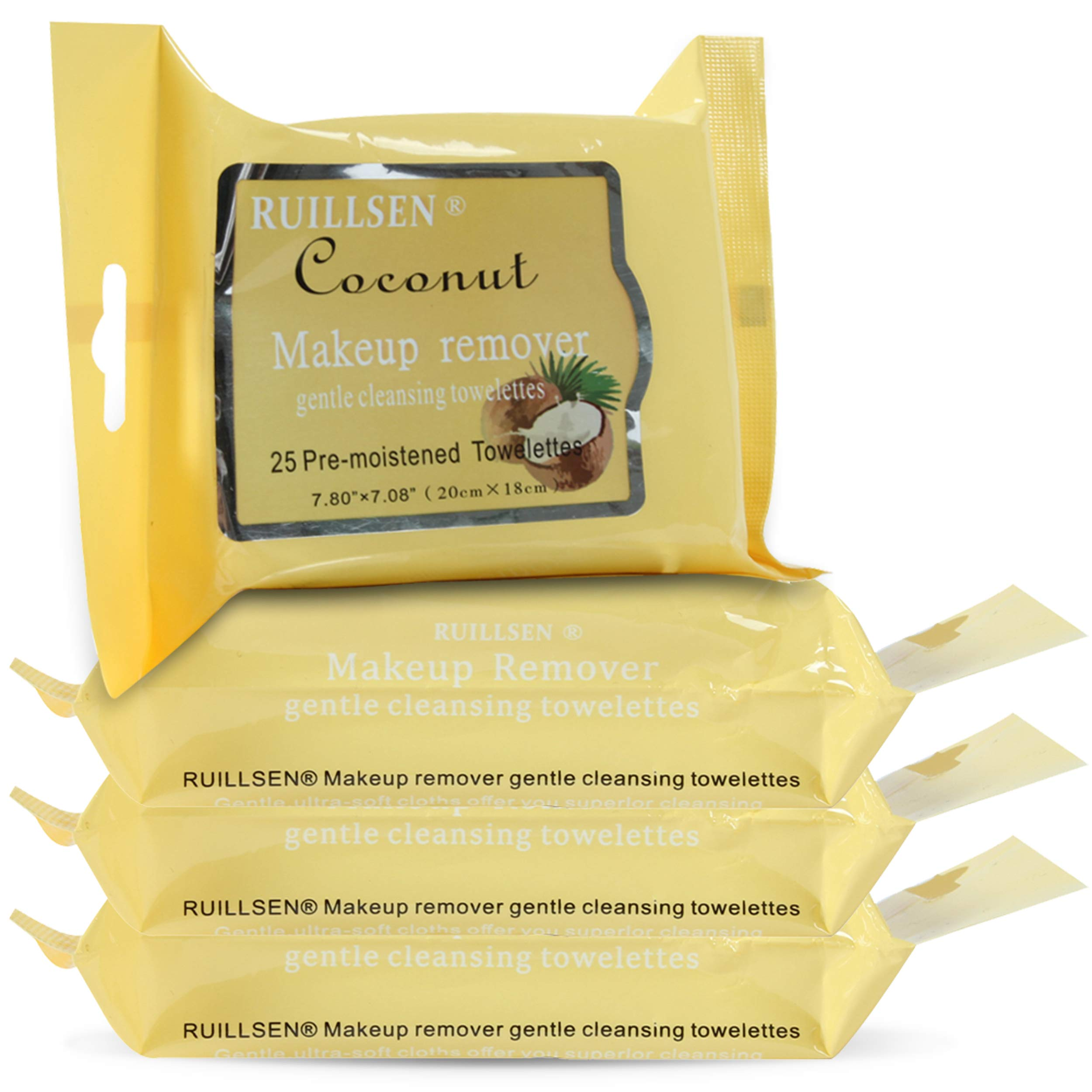RUILLSEN Extra Moist Makeup Removing Towelettes Facial Cleansing Cloth Cleansing Towelettes Daily Face Wipes to Remove Dirt, Oil, Makeup & Waterproof Mascara(Coconut Flavored,25 Ct,4 Pks)
