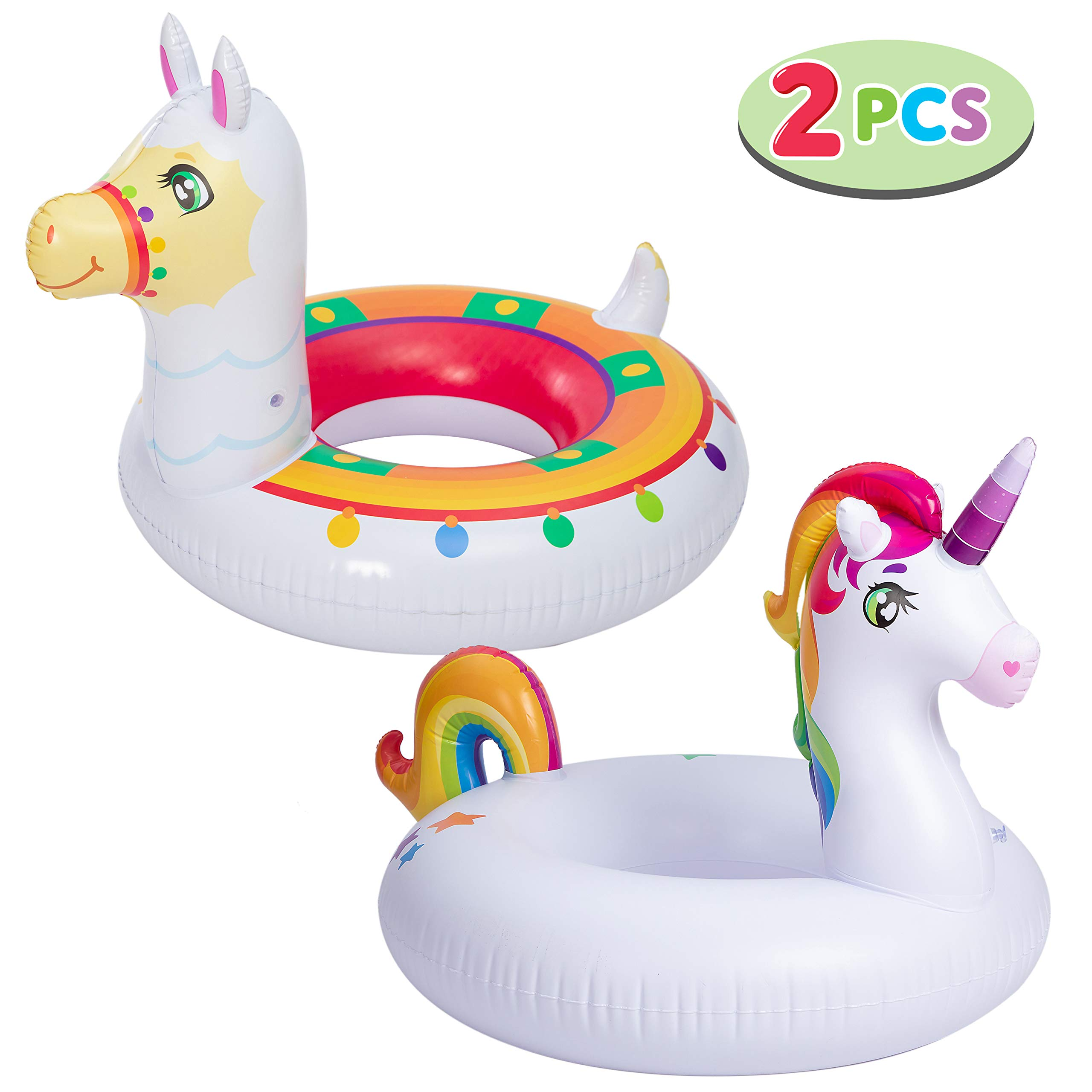 """JOYIN Inflatable Unicorn & Llama Inflatable Pool Float (2 Pack),35.3"""" Fun Beach Floaties, Swim Party Toys, Summer Pool Raft Lounger, Pool Party Decorations for Adults & Kids"""
