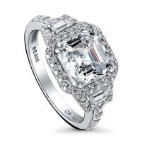 BERRICLE Rhodium Plated Sterling Silver Asscher Cut Cubic Zirconia CZ Halo Art Deco Engagement Ring 3.75 CTW