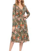 ACEVOG Womes' Floral Printed Chiffon Wrap V-Neck Long Sleeve A-Line Dress