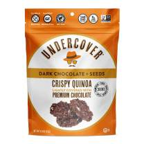 UNDERCOVER Chocolate Crispy Quinoa Snack - DARK CHOCOLATE + SEEDS - Gluten-Free, Nut-Free, 8 Count Case of 2 oz. Bags (sunflower, pumpkin, chia and flax seeds)