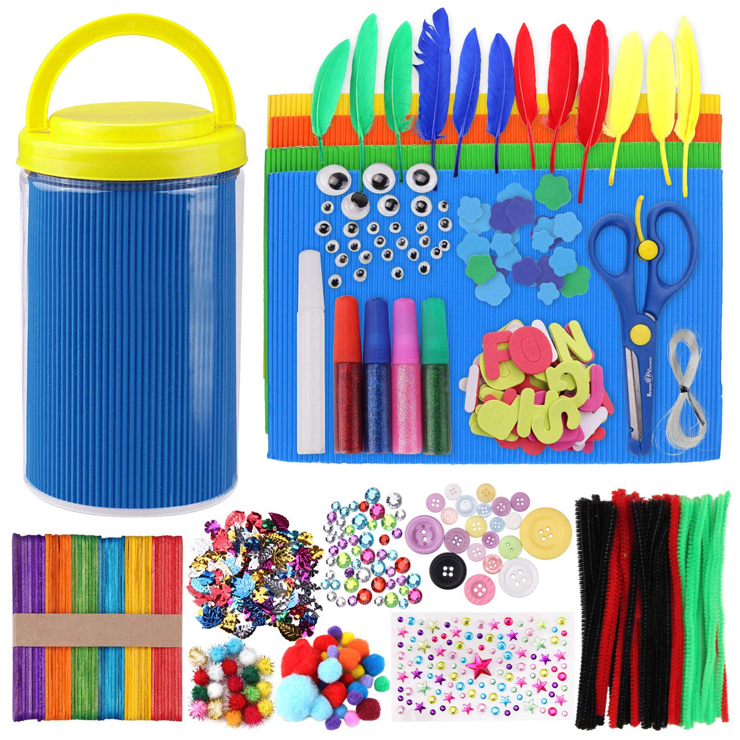 Satkago Kids DIY Art Craft Materials Supplies Kit Includes Pompoms Pipe Cleaners Wiggle Googly Eyes Feathers Popsicle Sticks Scissors