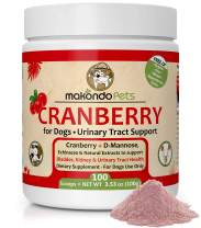 Cranberry for Dogs Powder Supplement – UTI Natural Remedy Urinary Tract Support for Incontinence, Bladder Leakage – 3.53 oz Wellness Formula with D-Mannose, Echinacea, Marshmallow Root.