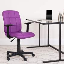 Flash Furniture Mid-Back Purple Quilted Vinyl Swivel Task Office Chair with Arms