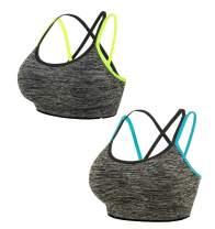 Women's Yoga Bra High Impact Sports Bras Zipper Closure Racerback Support Bra Padded Strappy Sports Bras Medium Workout Bra
