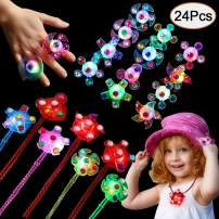 SCIONE Party Favors for Kids 24 Pack Glow in The Dark Party Supplies, 12 Pack Light Up Rings, 12 Pack Glow Necklaces Classroom Prizes Girls Boys Birthday Halloween Christmas LED Neon Party Favor Toys