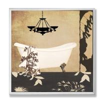 The Stupell Home Decor Collection White Tub with Black Floral Floor Bathroom Wall Plaque