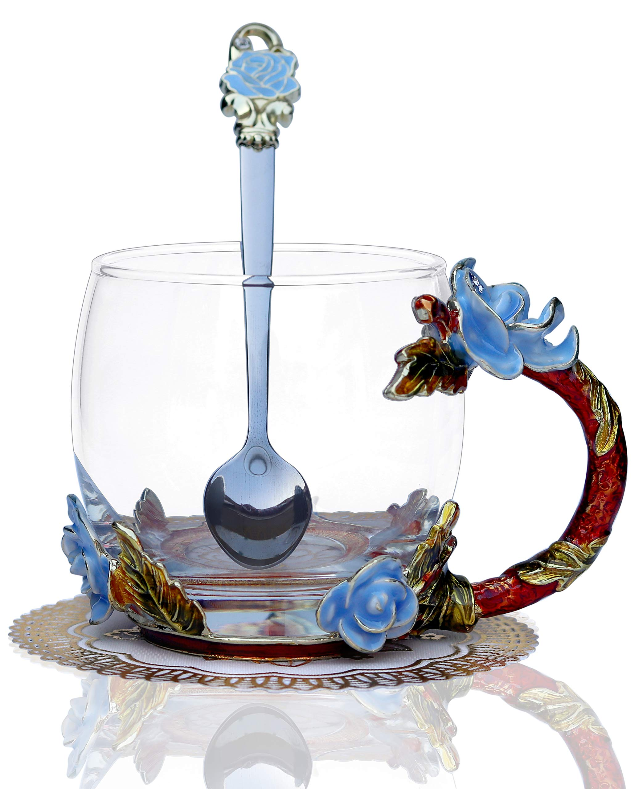 BothEarn Clear Blue Rose Tea Cup with Handle Handmade 3D Enamel Coffee Mug Set with Flower Spoon for Cappuccino Latte in Anniversary Party Wedding