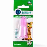 Brilliant Baby Finger Toothbrush - Silicone Gum Massager and Teether Brush for Babies and Toddlers - Kids Love Them, Pink, 1 Count