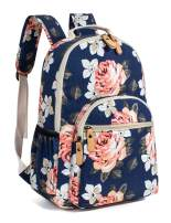 Leaper Floral School Backpack for Girls Travel Bag Bookbag Satchel Dark Blue 2