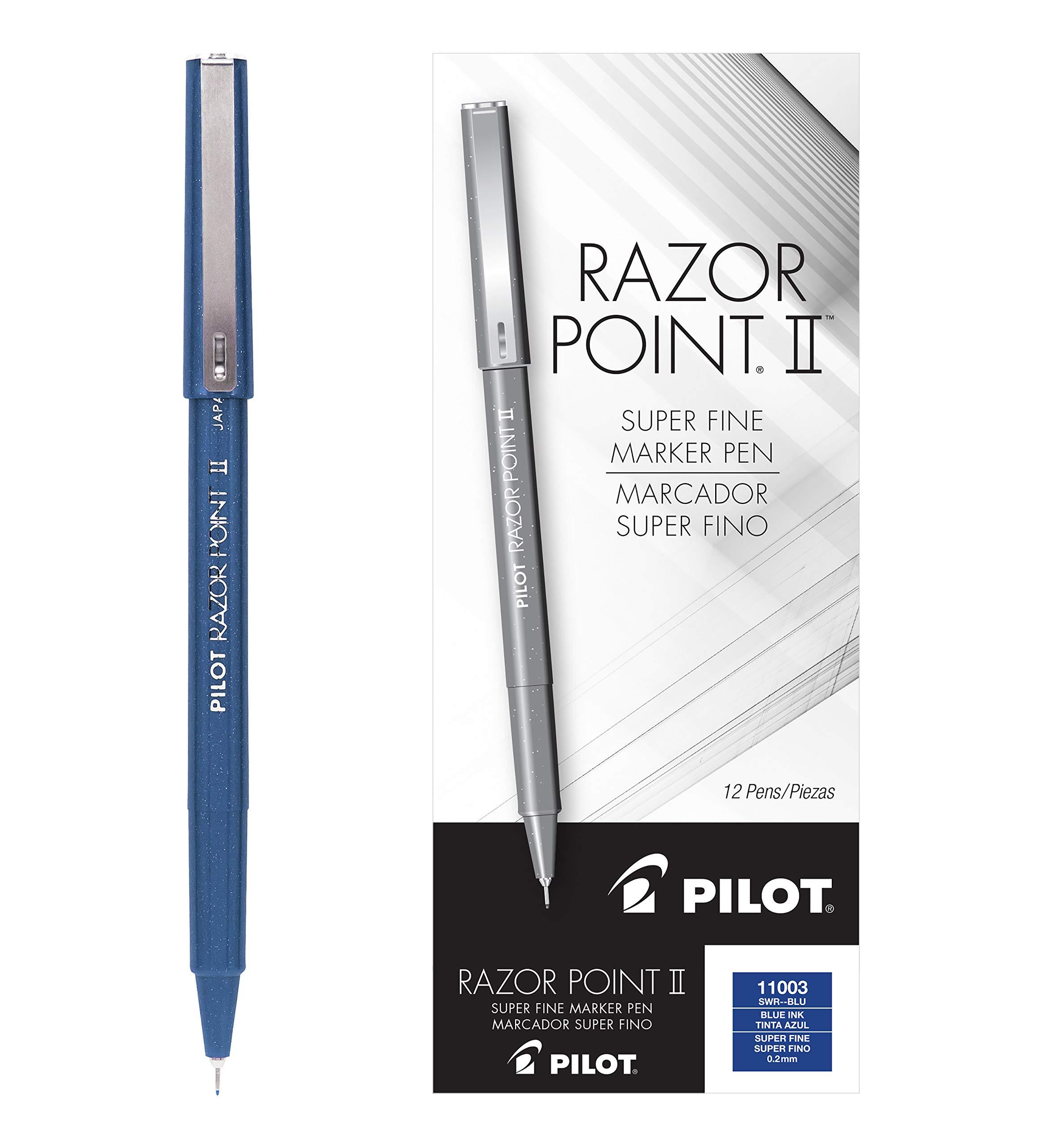 PILOT Razor Point II Fine Line Marker Stick Pens, Super Fine Point (0.2mm) Blue Ink, 12 Count (11003)