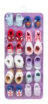 PACMAXI Over The Door Shoes Organizer for 12 Pairs of Baby Shoes Boys Girl, Hanging Organizer with an Anti-Rust Metal Hanger. (Purple)