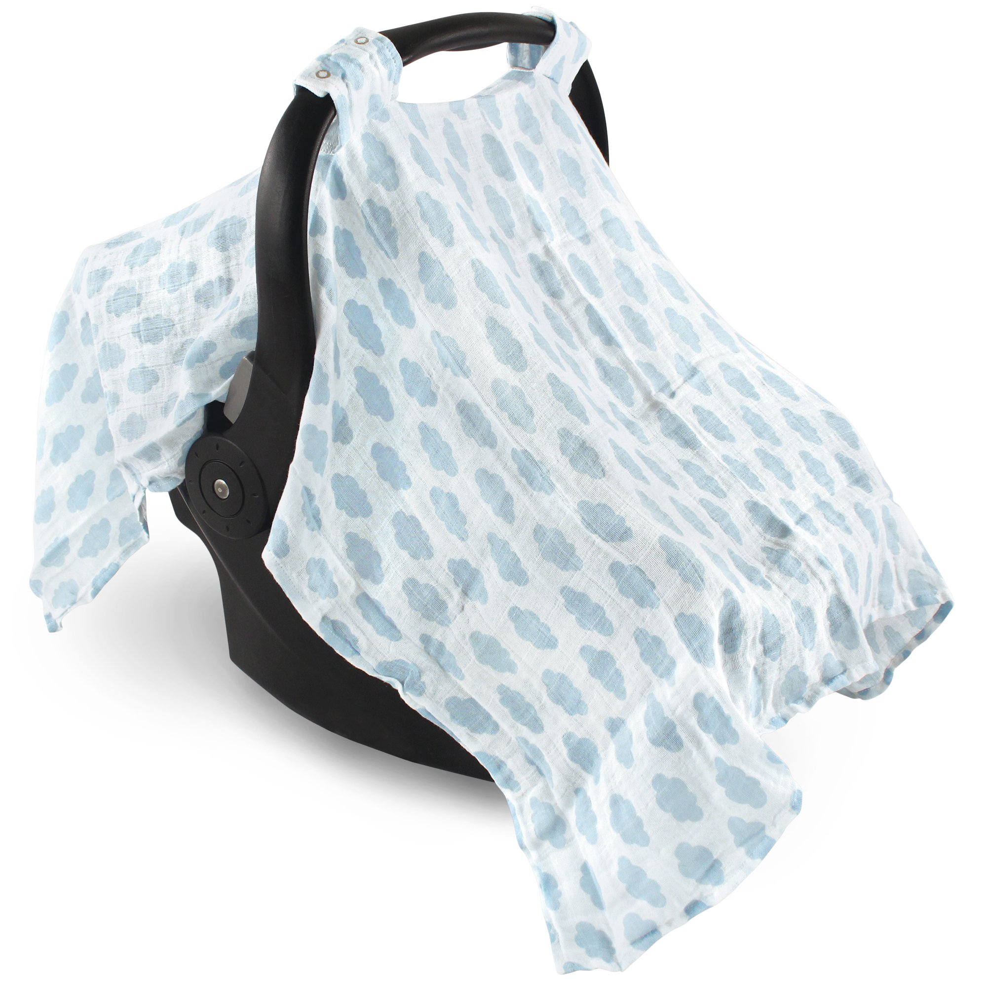 Hudson Baby Unisex Baby Muslin Cotton Car Seat and Stroller Canopy, Blue Clouds, One Size