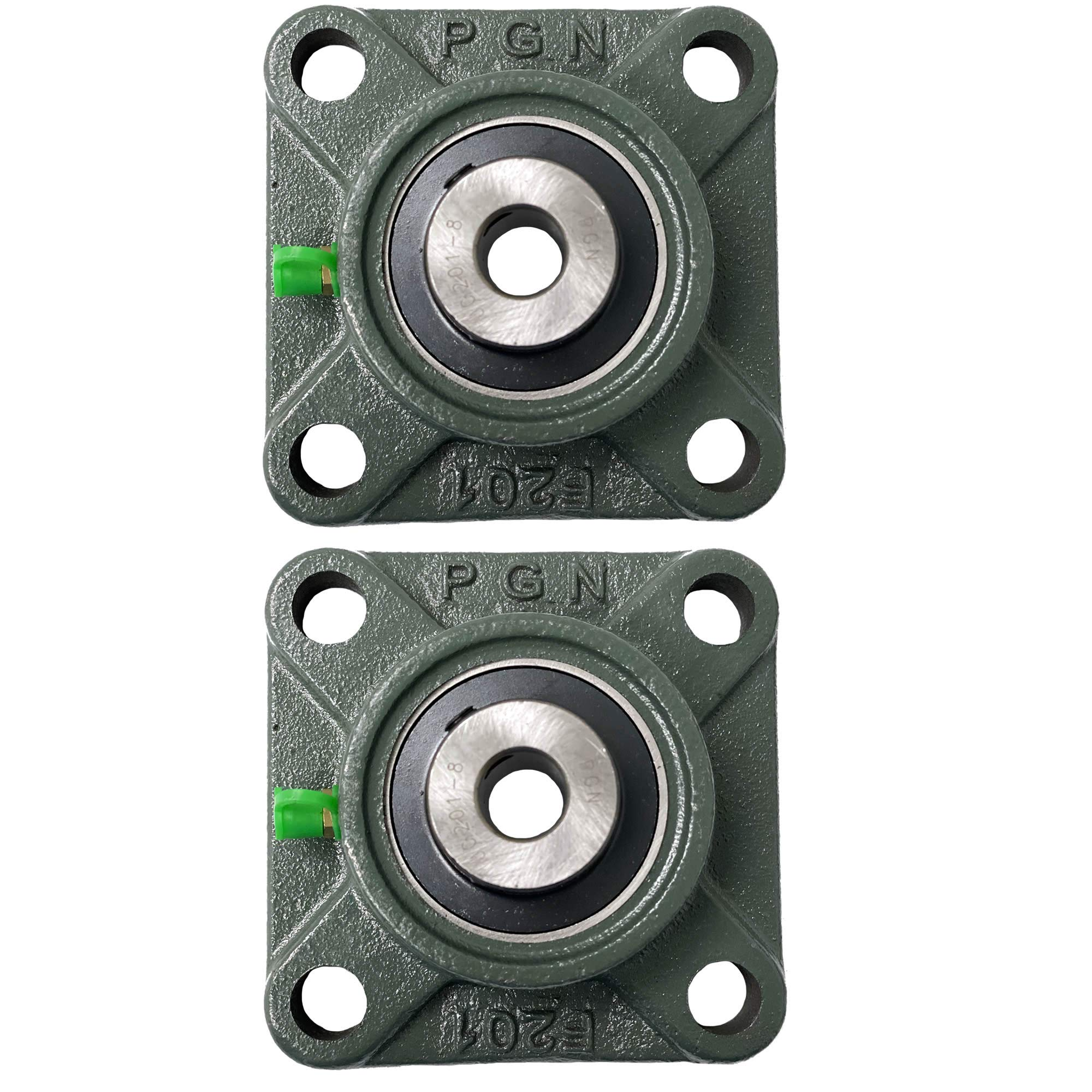 "PGN - UCF201-8 Pillow Block Square Flange Mounted Bearing 1/2"" Bore (2 PCS)"