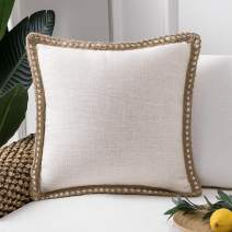 Phantoscope Farmhouse Decorative Throw Pillow Covers Burlap Linen Trimmed Tailored Edges Outdoor Pillows Off White 22 x 22 inches, 55 x 55 cm
