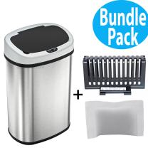 SensorCan 13 Gallon Automatic Touchless Sensor Kitchen Trash Can with Odor Filter Kit, Oval Shape, Stainless Steel Garbage Bin