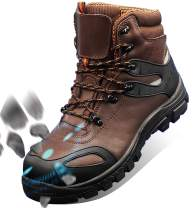 GLORYA Work Boots for Men, Composite Toe Waterproof Leather Safety Shoes, Anti-Slip Anti-Puncture Anti-Static Working Shoes