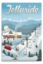 Lantern Press Telluride, Colorado, Retro Ski Resort (12x18 Aluminum Wall Sign, Wall Decor Ready to Hang)