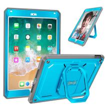 Fintie Case for iPad 9.7 Inch 2018/2017 - [Tuatara Magic Ring] 360 Rotating Multi-Functional Grip Stand Shockproof Fully-Body Rugged Cover with Built-in Screen Protector, Also Fit iPad Air 2, Blue